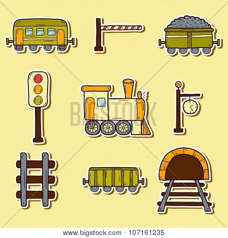 Railroad hand drawn stickers