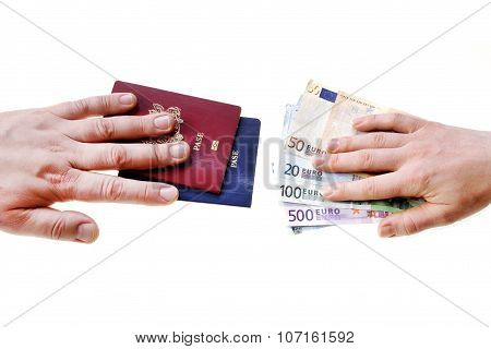 Buying Illegal Foreign Passport Hands Exchanging Money And Documents
