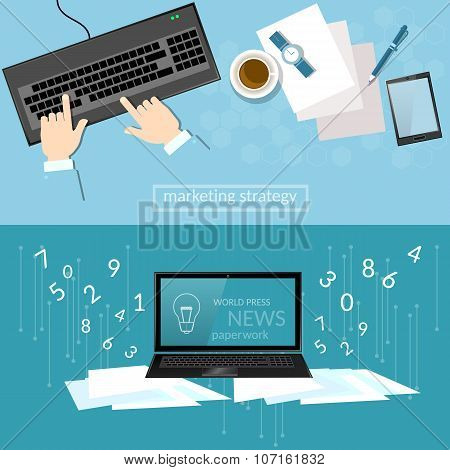 Business Concept Office Work Laptop Hands Businessman Analysis Of Profit And Sales Tactics banners