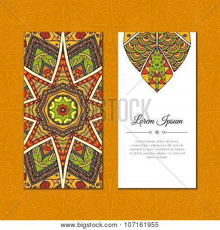 Cute Greeting Card With Color Mandala Mehndi