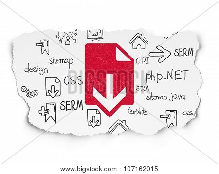 Web design concept: Download on Torn Paper background