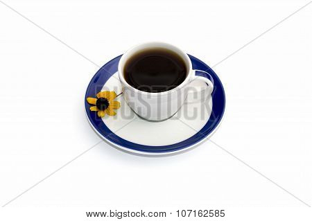 Cup Of Coffee On A Saucer With A Blue Border And A Floret, Isolate