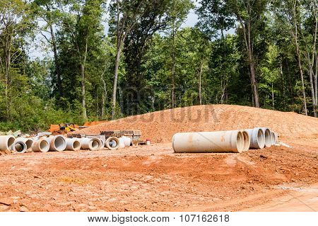 Cement Sewer Pipes At Construction Site