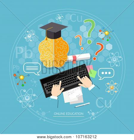 Online Education Student Learns Diploma Laptop Distance Tutorials University College Vector Concept