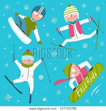 Ski Snowboard Snowflakes Winter Sport Funny Cartoon Collection