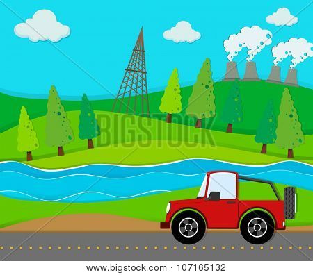 Red jeep riding on the road illustration