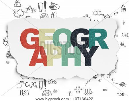 Science concept: Geography on Torn Paper background