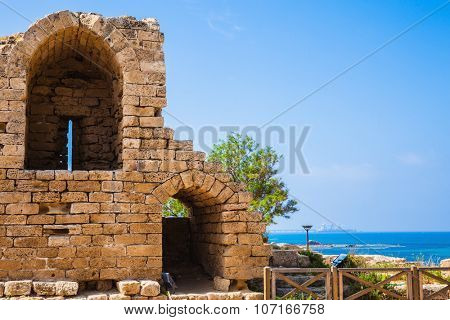 Ruins of ancient defensive walls and urban facilities. National park Caesarea on the Mediterranean. Israel