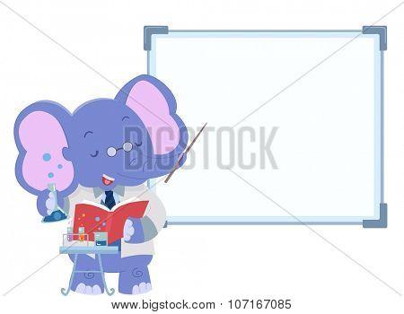 Illustration of a Cute Elephant Teaching Inside a Lab