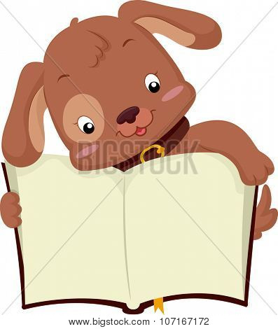 Illustration of a Cute Dog Holding an Open Book