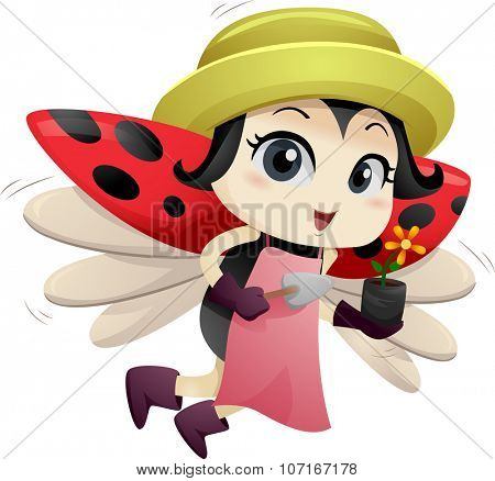 Illustration of a Cute Ladybug Carrying a Flower in a Plastic Container