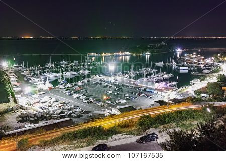 Night Panorama of port and boots, Sozopol