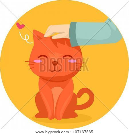 Illustration of a Cute Cat Being Pet on the Forehead