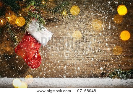 Christmas stocking in winter holiday setting