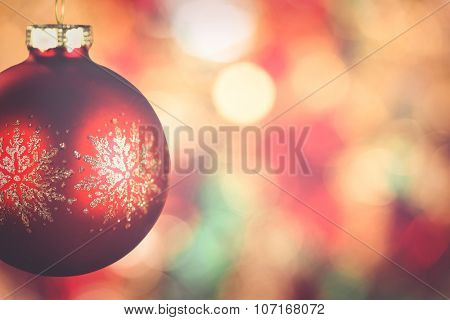 Hanging red christmas balls with copy space