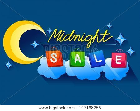 Illustration Featuring Shopping Bags Spelling Out the Word Midnight Sale
