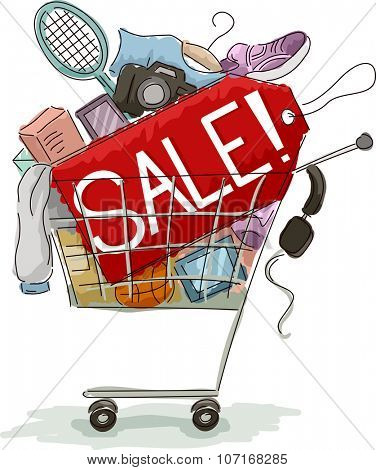 Illustration of a Shopping Cart Full of Discounted Items