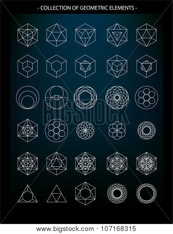 Vector set of geometric elements, symbols of religion, spirituality, alchemy, mysticism and astrology