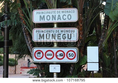 Monaco Entrance Traffic Sign