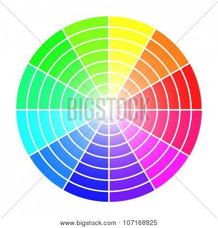 Color wheel vector template isolated on white background.