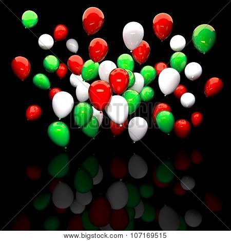 italian colours balloon 3d background
