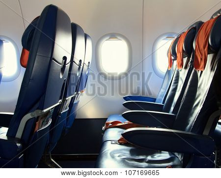 Empty new modern Chairs in the airplane