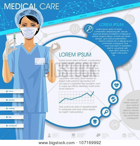 Medical template with a nurse girl, round frames and icons. Medical care web design
