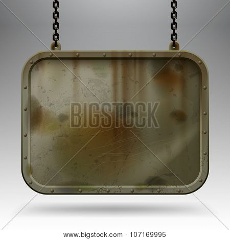 Iron dirty sign hanging on chains against a light gray background. Empty grunge framed banner. Contain the Clipping Path