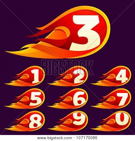 Numbers Set With Red Fire Flames.