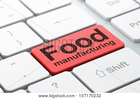 Industry concept: Food Manufacturing on computer keyboard background