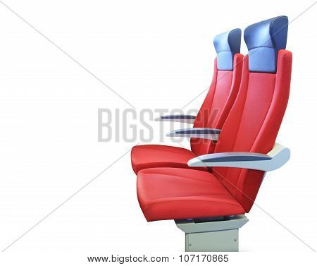 Modern red passenger chair isolated