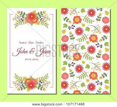 Cute Vintage Floral Cards Set.