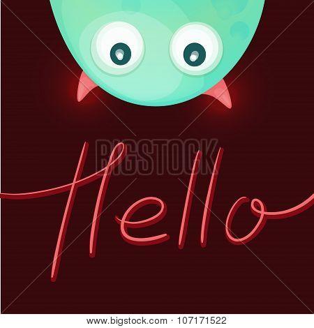Funny monster saying Hello.