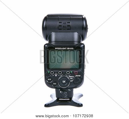 Nikon Sb-910 Speedlight Isolated On White Background