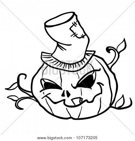 simple black and white pumpkin head cartoon