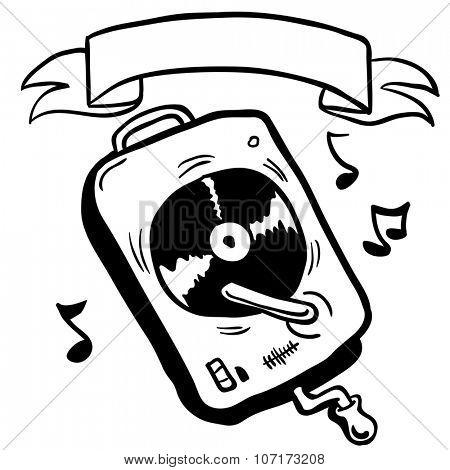simple black and white record player with banner cartoon