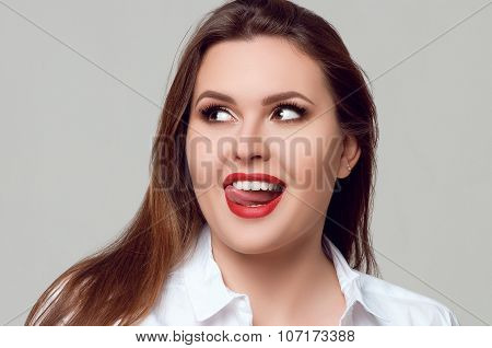 Portrait Of Beautiful Plus Size Curly Young Woman