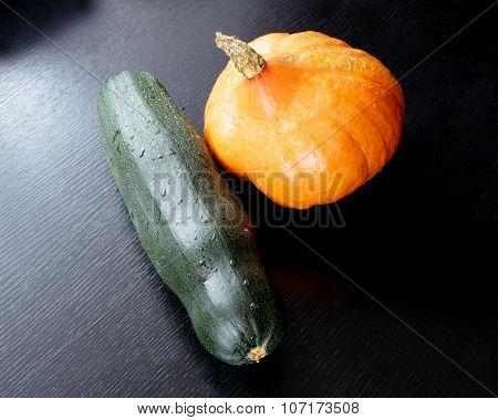 Orange Pumpkin And Green Squash Vegetable Marrow