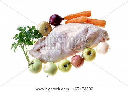 Raw Duck Drake Ready To Cook With Vegetables And Apples