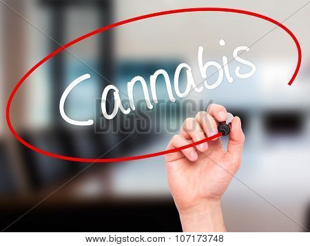 Man Hand writing Cannabis with black marker on visual screen.
