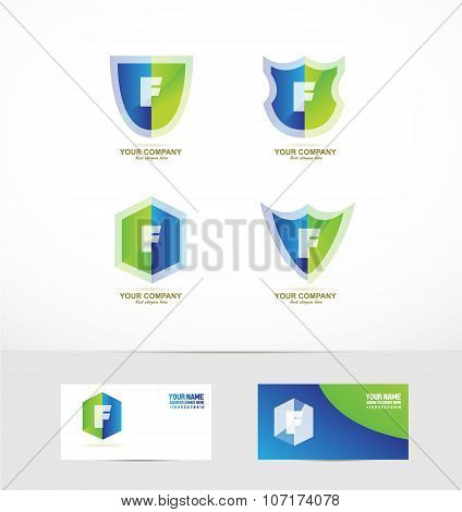 Letter F Shield Logo Icon Set