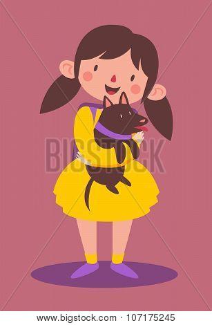 School Girl Holding Her Dog