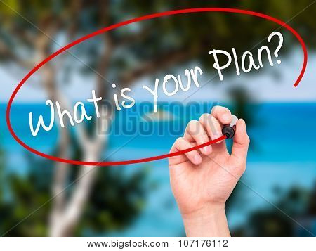 Man Hand writing Whats Your Plan? with black marker on visual screen.