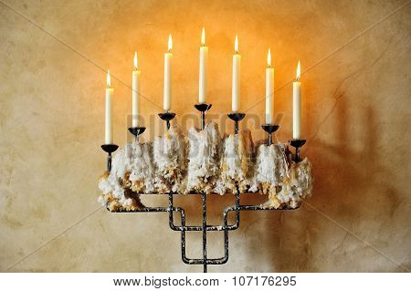 Old Candlestick With Burning Candles