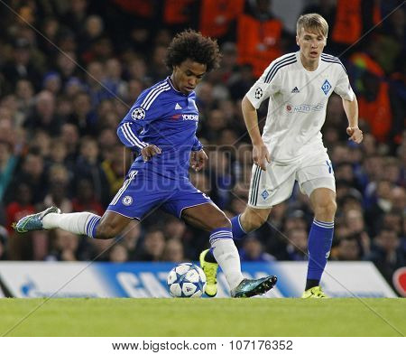 LONDON, ENGLAND - NOVEMBER 04 2015: Willian of Chelsea during the UEFA Champions League match between Chelsea and Dynamo Kyiv at Stamford Bridge on November 04, 2015 in London, United Kingdom.