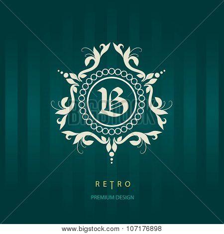 Letter B. Calligraphic Elegant Line Art Logo Design.