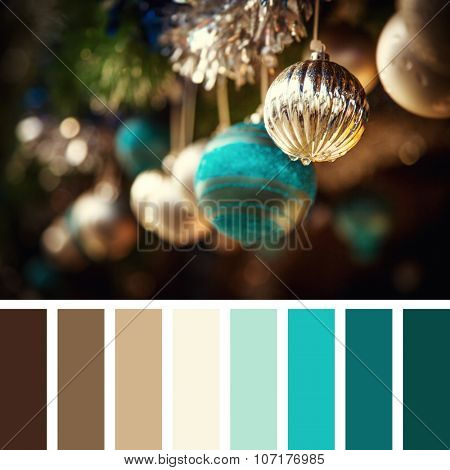 Vintage style Christmas decorations of glass baubles and tinsel. In a colour palette with complimentary colour swatches.
