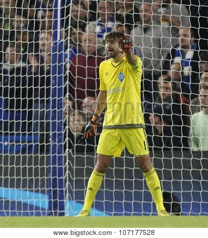 LONDON, ENGLAND - NOVEMBER 04 2015:goalkeeper Oleksandr Shovkovskiy of Dynamo Kyiv during the UEFA Champions League match between Chelsea and Dynamo Kyiv at Stamford Bridge on November 04, 2015
