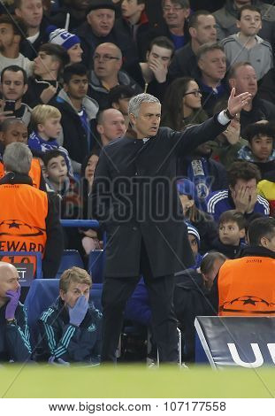 LONDON, ENGLAND - NOVEMBER 04 2015: Manager Jose Mourinho of Chelsea during the UEFA Champions League match between Chelsea and Dynamo Kyiv at Stamford Bridge on November 04, 2015 in London