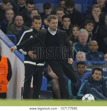 LONDON, ENGLAND - NOVEMBER 04 2015: Manager Serhiy Rebrov of Dynamo Kyiv during the UEFA Champions League match between Chelsea and Dynamo Kyiv at Stamford Bridge on November 04, 2015